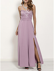 cheap -Sheath / Column V Neck / Spaghetti Strap Ankle Length Stretch Fabric Bridesmaid Dress with Lace / Appliques / Split Front