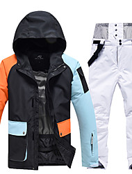 cheap -Women's Ski Jacket with Bib Pants Thermal Warm Waterproof Windproof Breathable Hooded Winter Clothing Suit for Snowboarding Ski Mountain / Cotton