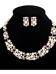cheap -Women's Pearl Necklace Earrings Joy Stylish Simple Trendy Earrings Jewelry Gold For Party Wedding Gift Daily Festival 1 set