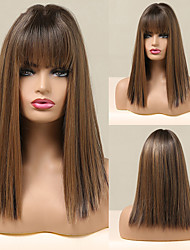 cheap -Bobo Short Straight Synthetic Wig With Bangs Black Brown Layered Hair Wig for Women Girls Dark Root Heat Resistant