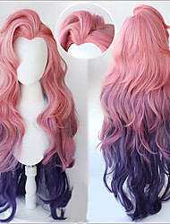 cheap -Synthetic Wig Curly Deep Wave Middle Part Wig Long A1 Synthetic Hair Women's Cosplay Soft Party Pink Purple Mixed Color