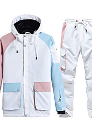 cheap -Women's Ski Jacket with Pants Thermal Warm Waterproof Windproof Breathable Hooded Winter Clothing Suit for Snowboarding Ski Mountain / Cotton