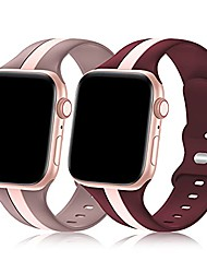 cheap -2 pack designer sport band compatible with apple watch band 38mm 40mm 41mm 42mm 44mm 45mm iwatch bands for women men, soft silicone sport strap for apple watch series 7 6 5 4 3 se 2 1(38/40/41mm))