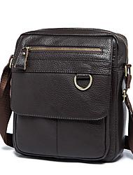 cheap -Men's Bags Nappa Leather Cowhide Crossbody Bag Zipper Daily Handbags Messenger Bag Coffee