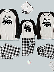 cheap -Pajamas Family Look Check Bear Letter Daily Patchwork Black Long Sleeve Daily Matching Outfits