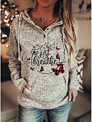 cheap -Women's Hoodie Sweatshirt Plaid Checkered Butterfly Text Front Pocket Print Christmas Casual Sports Active Streetwear Hoodies Sweatshirts  Gray