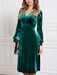 cheap -Women's A Line Dress Knee Length Dress Green Long Sleeve Solid Color Ruched Fall V Neck Casual 2021 S M L XL XXL