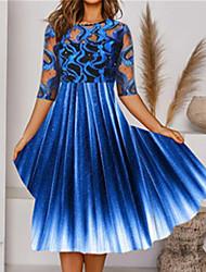 cheap -Women's A Line Dress Knee Length Dress Blue Half Sleeve Color Gradient Patchwork Print Fall Round Neck Casual Regular Fit 2021 S M L XL XXL
