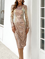 cheap -Women's A Line Dress Knee Length Dress Gold Long Sleeve Solid Color Sequins Fall Round Neck Elegant Sexy Party 2021 S M L XL / Party Dress