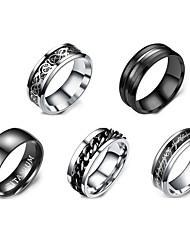 cheap -Women Ring Retro Black Stainless Steel Galaxy Simple Punk Casual / Sporty 5pcs 7 8 9 10 11 / Women's / Men's