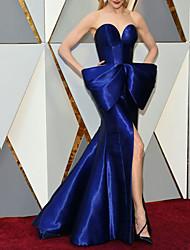 cheap -Mermaid / Trumpet Celebrity Style Elegant Engagement Formal Evening Dress Strapless Sleeveless Sweep / Brush Train Satin with Bow(s) Split 2021