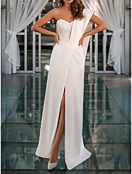 cheap -Sheath / Column Wedding Dresses One Shoulder Sweetheart Neckline Floor Length Satin Sleeveless Simple Glamorous Sexy with Sequin Split Front 2021
