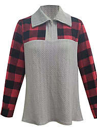 cheap -Women's Plus Size Tops Blouse Shirt Plaid Print Long Sleeve Shirt Collar Streetwear Daily Weekend Cotton Fall Gray