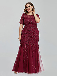 cheap -Mermaid / Trumpet Empire Sparkle Prom Formal Evening Dress Jewel Neck Short Sleeve Floor Length Tulle with Embroidery 2021