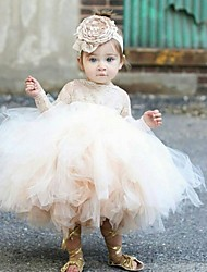 cheap -Princess Ankle Length Flower Girl Dresses Party Tulle Long Sleeve Jewel Neck with Lace