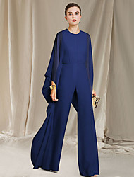 cheap -Pantsuit / Jumpsuit Mother of the Bride Dress Elegant Jewel Neck Floor Length Chiffon Long Sleeve with Ruffles 2021