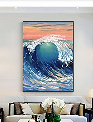 cheap -Oil Painting Handmade Hand Painted Wall Art Abstract Seascape Ocean Waves  Home Decoration Decor Stretched Frame Ready to Hang