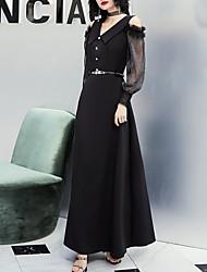cheap -Sheath / Column Minimalist Elegant Party Wear Formal Evening Dress V Neck Long Sleeve Floor Length Stretch Fabric with Sash / Ribbon Beading 2021