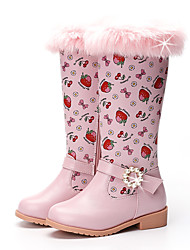 cheap -Girls' Boots Snow Boots Princess Shoes Leather PU Portable High Elasticity Snow Boots Big Kids(7years +) Little Kids(4-7ys) Daily Party & Evening Walking Shoes Crystal / Rhinestone Almond Pink Fall