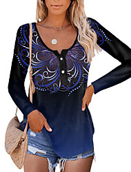 cheap -Women's Painting T shirt Color Gradient Graphic Button Print Round Neck Basic Tops Blue Purple Green / 3D Print