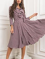 cheap -Women's A Line Dress Knee Length Dress Brown 3/4 Length Sleeve Polka Dot Ruffle Print Fall V Neck Casual Regular Fit 2021 S M L XL XXL