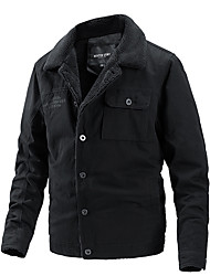 cheap -Men Jacket Street Daily Fall Winter Short Coat Single Breasted Turndown Regular Fit Windproof Warm Casual Streetwear Jacket Long Sleeve Solid Color Quilted Pocket Green Black