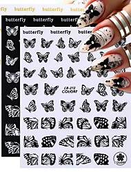 cheap -12 pcs Black Butterfly Pattern 3D Nail Art Stickers Pink Colorful Laser Sticker Decals White Animal Adhensive Slider Decoration Nail