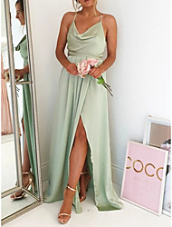 cheap -A-Line Spaghetti Strap Sweep / Brush Train Charmeuse Bridesmaid Dress with Pleats / Split Front