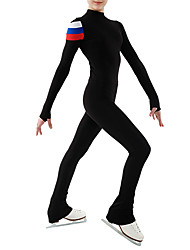 cheap -Figure Skating Jacket with Pants Women's Girls' Ice Skating Bodysuit Black Patchwork Spandex High Elasticity Training Competition Skating Wear Patchwork Long Sleeve Ice Skating Figure Skating