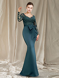 cheap -Sheath / Column Mother of the Bride Dress Elegant V Neck Floor Length Chiffon Lace Long Sleeve with Bow(s) Appliques 2021
