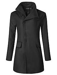 cheap -Men's Trench Coat Coat Street Daily Fall Winter Long Coat Hidden Stand Collar Loose Windproof Warm Elegant Streetwear Jacket Long Sleeve Plain Pocket Dark Grey Black