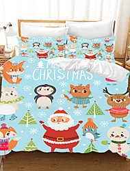 cheap -Cartoon Christmas Santa Claus Printed 3-Piece Duvet Cover Set Hotel Bedding Sets Comforter Cover with Soft Lightweight Microfiber, Include 1 Duvet Cover, 2 Pillowcases for Double/Queen/King(1 Pillowcase for Twin/Single)