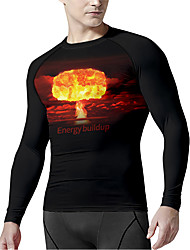 cheap -21Grams Men's Long Sleeve Compression Shirt Running Shirt Top Athletic Athleisure Spandex Quick Dry Moisture Wicking Breathable Fitness Gym Workout Running Active Training Exercise Sportswear Normal