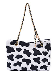 cheap -Women's Bags Faux Fur Synthetic Tote Top Handle Bag Zipper Leopard Print Daily Outdoor Retro Tote Blushing Pink White Black Brown