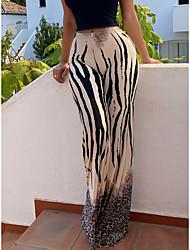 cheap -Women's Fashion Soft Pants Going out Pants Zebra Full Length Black / White Grey Apricot