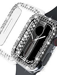 cheap -beuxece [2 pack] bling cases for apple watch series 7 41mm, rhinestones diamond cover for iwatch 7 ,for women girls, hard pc protective bumper accessories (41mm, crystal clear)