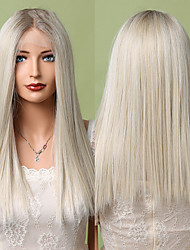 cheap -Long Straight Synthetic Lace Front Wig Ombre Ash White Platinum Blonde T-Part Lace Wig for Women Heat Resistant Hair