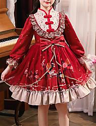 cheap -Kids Little Girls' Dress Patchwork Rumpet Dress Party Birthday Ruffle Patchwork Lace Trims Red Knee-length Long Sleeve Princess Sweet Dresses Fall Winter Regular Fit 3-12 Years