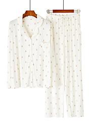 cheap -Women's Suits Pajamas Home Basic Print Animal Modal Sweet Fall Spring Crew Neck Long Sleeve Long Pant Pocket
