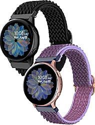 cheap -compatible for samsung galaxy watch 4 band/active 2 watch bands 40mm 44mm/watch 4 classic 42mm 46mm/watch 3 41mm/galaxy watch 42mm/gizmo,20mm soft nylon women men stretchy strap (black/purple)