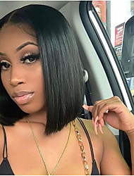 cheap -Remy Human Hair T-part Lace Wig 13X4X1 Closure Wig Bob Style Brazilian Hair Burmese Hair Straight Orange Wig 150% Density Lace Women Comfortable 100% Virgin With Bleached Knots Women's Short Medium