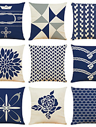 cheap -Blue Geometric Double Side Cushion Cover 9PC Soft Decorative Square Throw Pillow Cover Cushion Case Pillowcase for Bedroom Livingroom Superior Quality Machine Washable Indoor Cushion for Sofa Couch Bed Chair