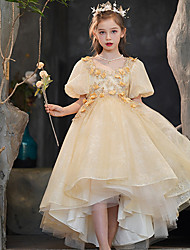 cheap -Princess Asymmetrical Flower Girl Dresses Party Tulle Short Sleeve Scoop Neck with Beading