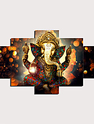 cheap -5 Panels Wall Art Canvas Prints Painting Artwork Picture Hindu God Ganesha Painting Home Decoration Decor Rolled Canvas No Frame Unframed Unstretched