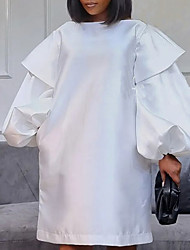 cheap -Women's Plus Size Dress A Line Dress Short Mini Dress Long Sleeve Solid Color Ruffle Casual Fall Yellow Blushing Pink White L XL XXL 3XL