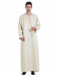 cheap -long sleeve muslim thobe for mens middle east saudi arab islamic long kaftan robe dubai men clothes beige