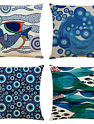 cheap -Devil Eye Double Side Cushion Cover 4PC Soft Decorative Square Throw Pillow Cover Cushion Case Pillowcase for Bedroom Livingroom Superior Quality Machine Washable Indoor Cushion for Sofa Couch Bed Chair