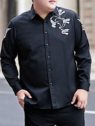 cheap -Men's Shirt Graphic Animal Plus Size Formal Style Classic Long Sleeve Business Tops Sports & Outdoors Ordinary Modern Style Black