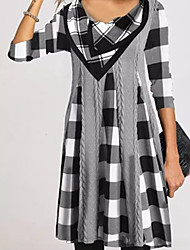 cheap -Women's A Line Dress Knee Length Dress Yellow Gray Black 3/4 Length Sleeve Plaid Print Fall Winter Round Neck Casual 2021 M L XL XXL 3XL 4XL