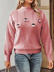 cheap -Women's Pullover Sweater Jumper Knitted Solid Color Stylish Basic Casual Long Sleeve Sweater Cardigans Crew Neck Fall Winter Purple Yellow Blushing Pink